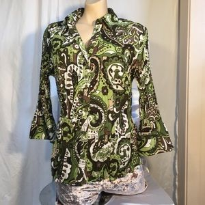 Apt 9 paisley pattern button up green & brown